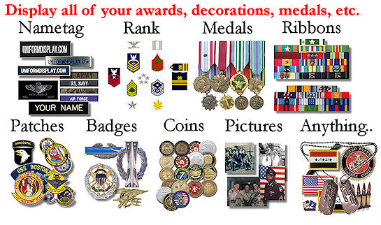 Display your Nametag, Rank, Medals, Ribbons, Patches, Badges, Coins, Pictures, Anything you want...